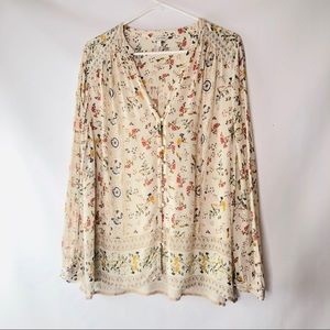 Lucky Brand Floral Blouse Size XLarge